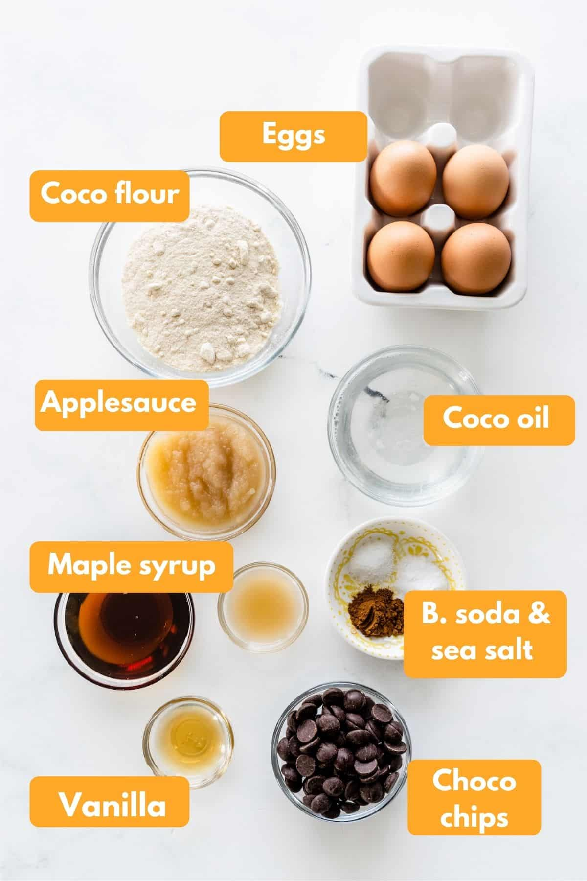 ingredients for coconut flour muffins