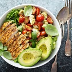 nourish bowl with chicken and avocado