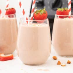Strawberry smoothies with straws