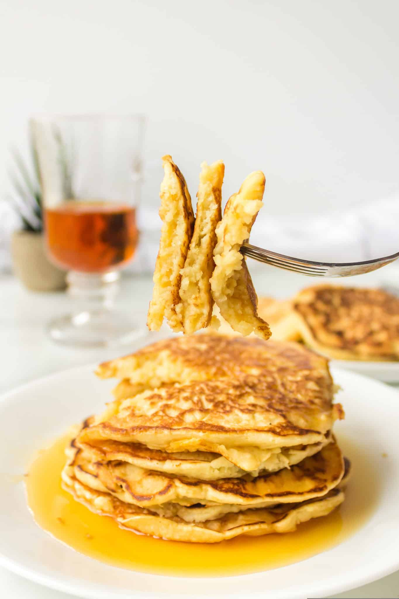 A forkful of pancakes