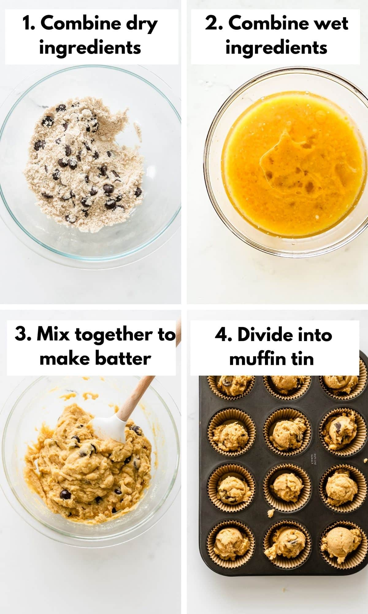 process photos for how to make coconut flour muffins