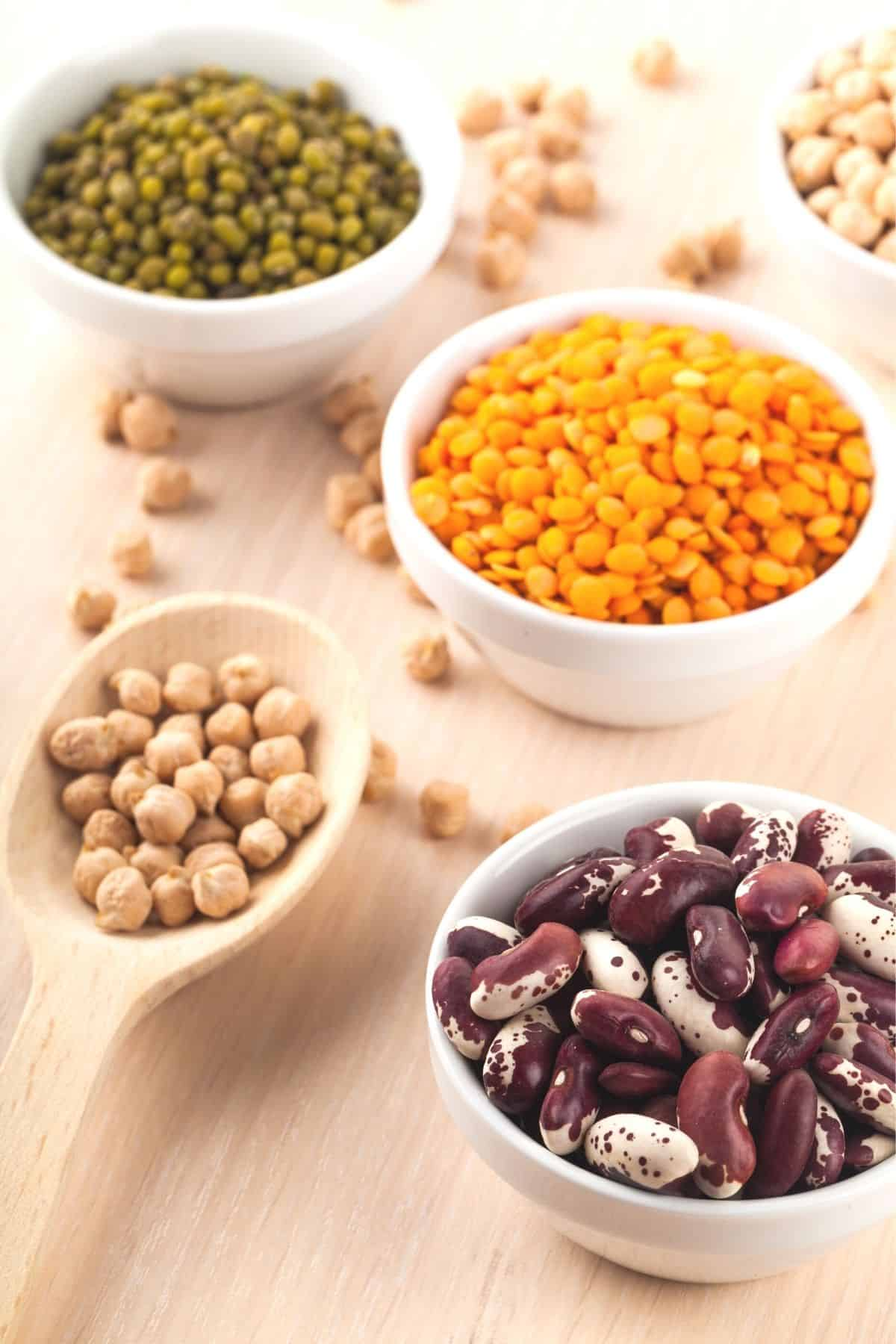 Bowls of dried beans and peas