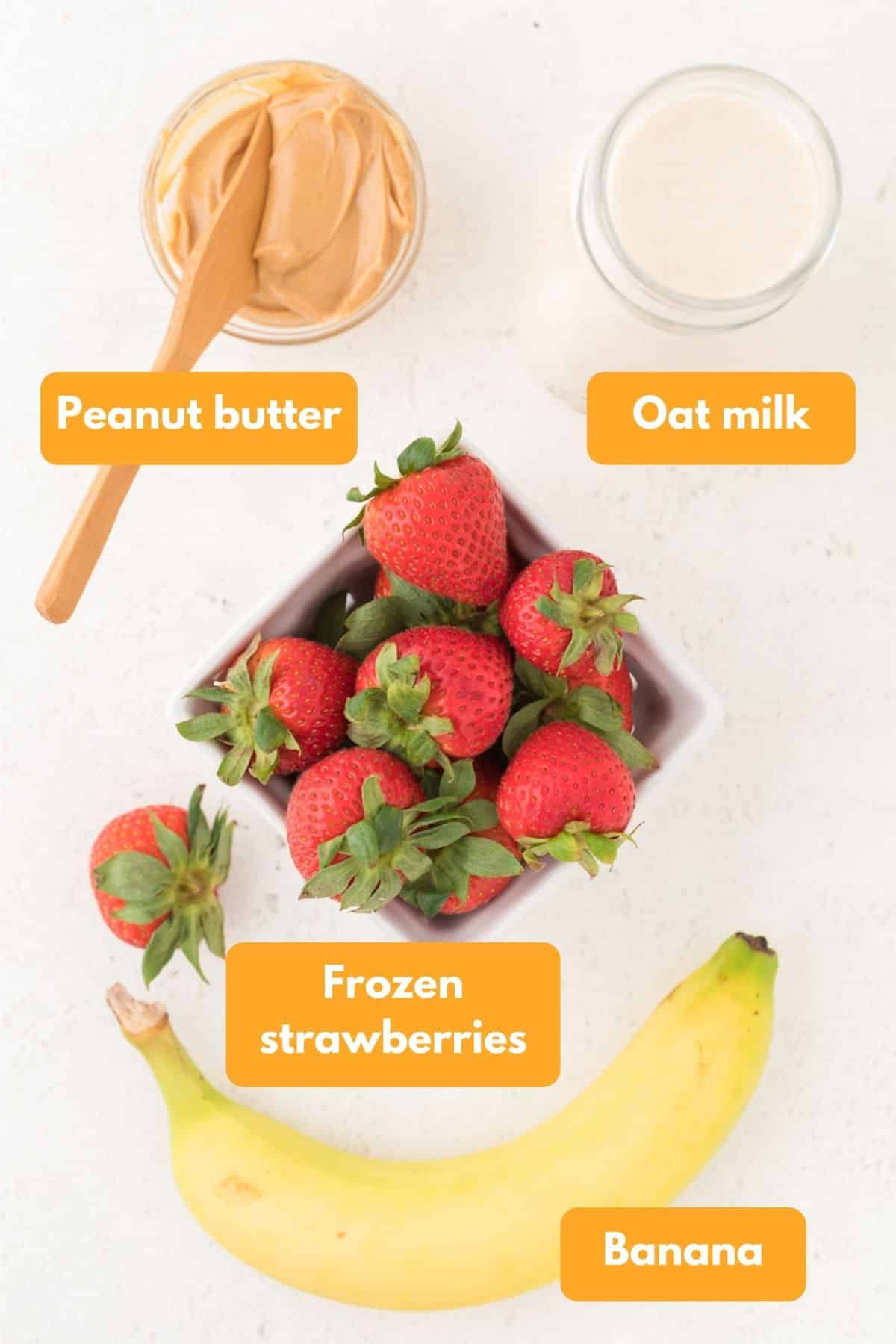 Ingredients for a strawberry smoothie