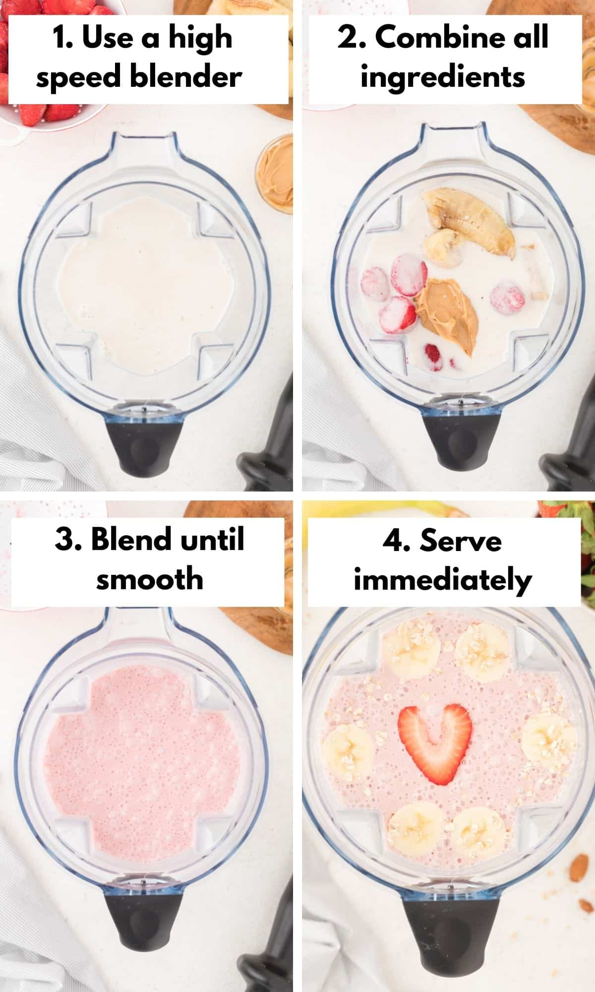 photo collage with how to make this oat milk smoothie recipe