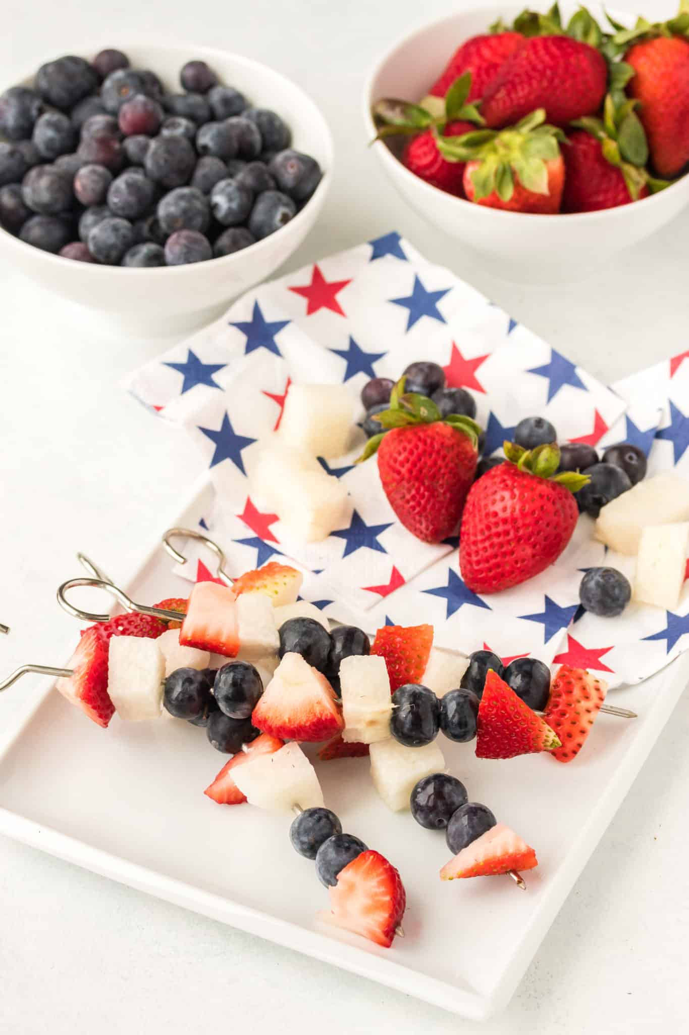 4th of july fruit kabobs with extra blueberries and strawberries