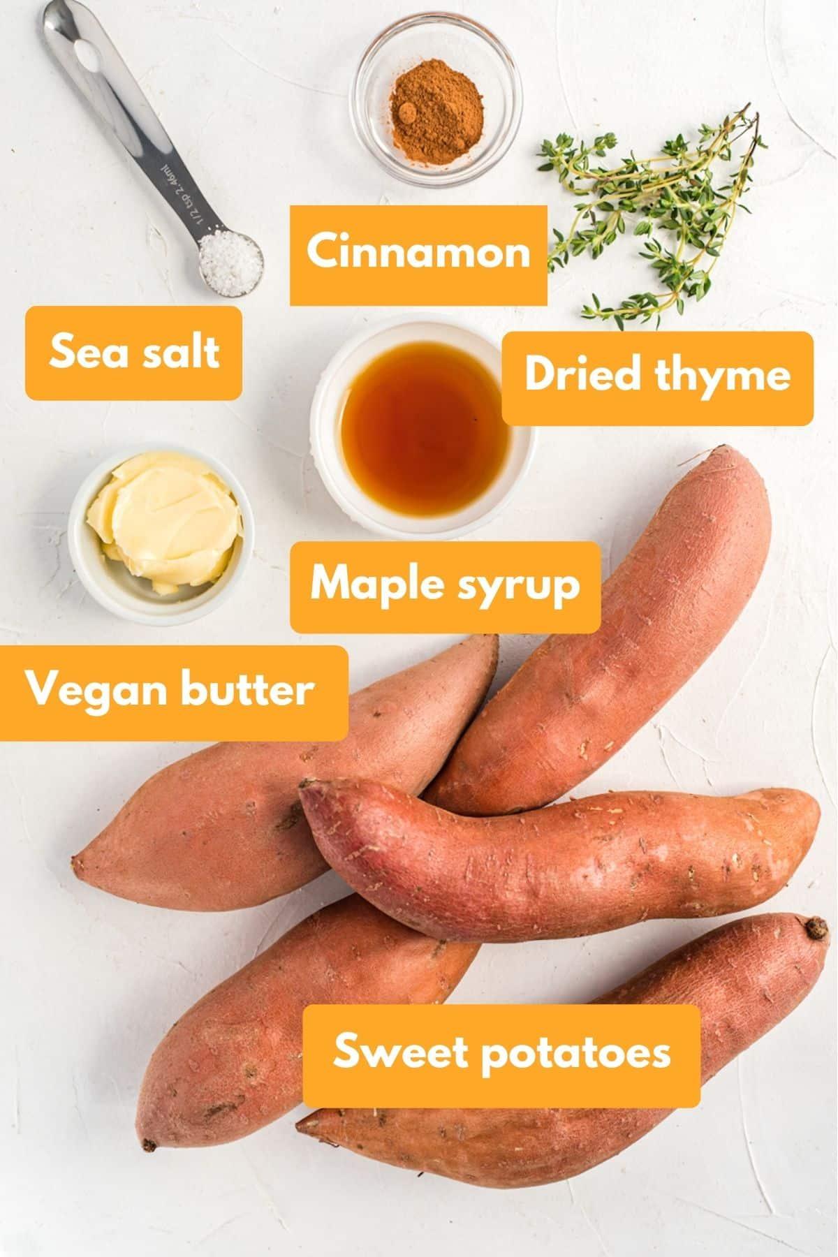 Ingredients for vegan mashed sweet potatoes