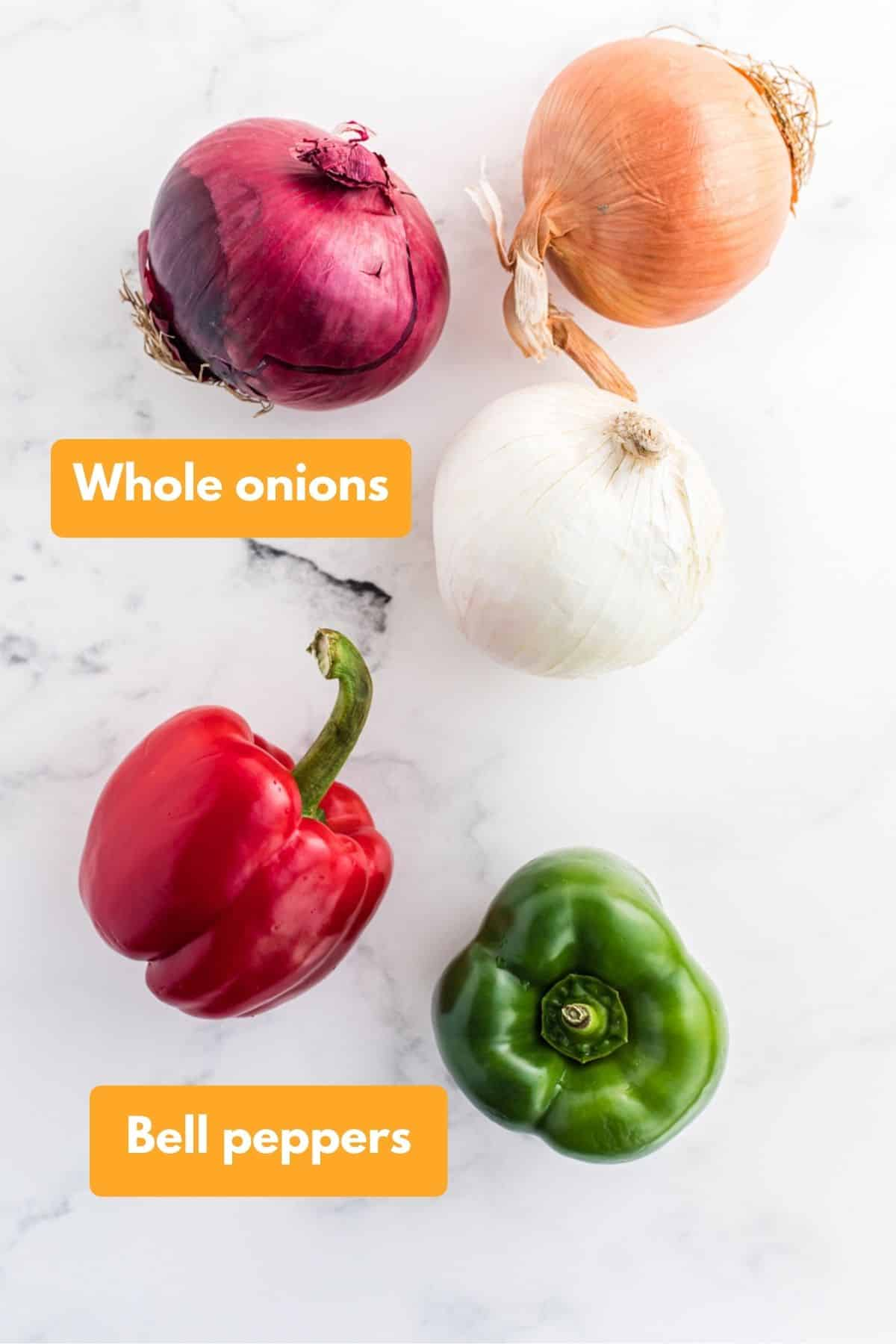 Whole onions and bell peppers