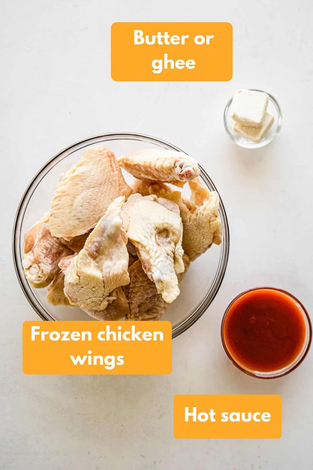 Ingredients for chicken wings and buffalo sauce