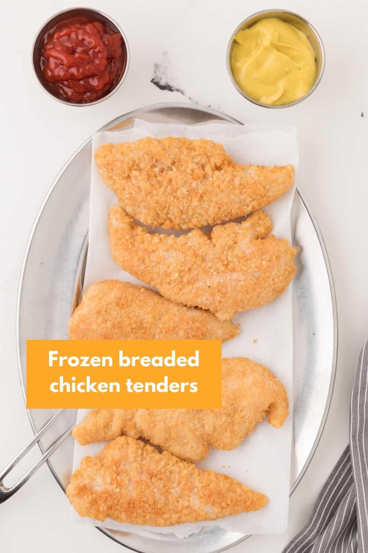 Frozen breaded chicken tenders on a plate