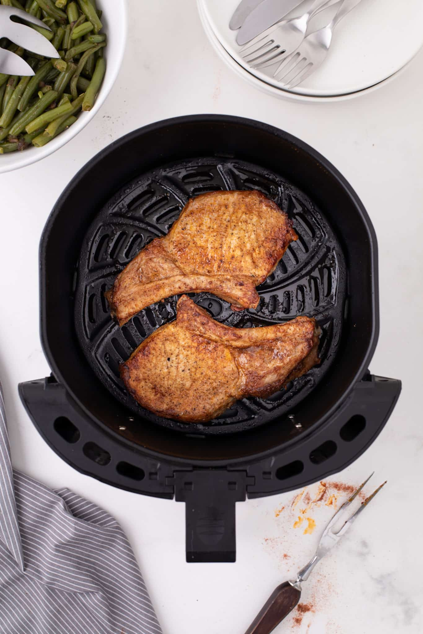 Cooked pork chops with no breading in an air fryer