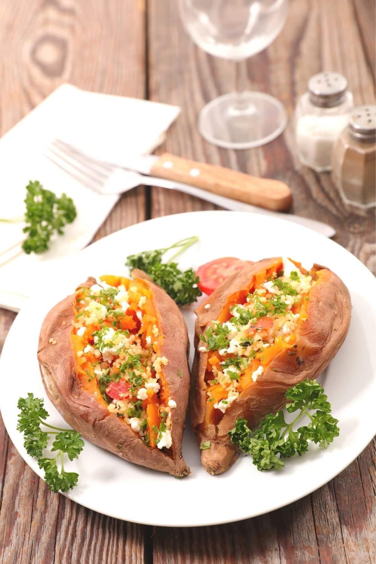 stuffed sweet potatoes served on a  plate