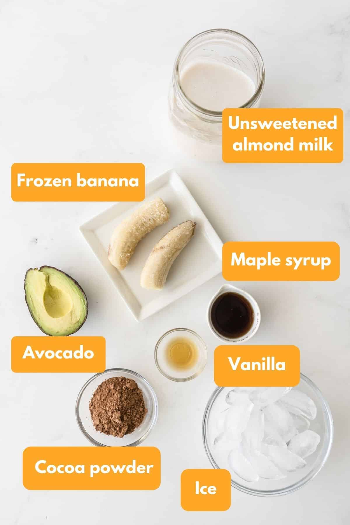Ingredients for a chocolate avocado smoothie