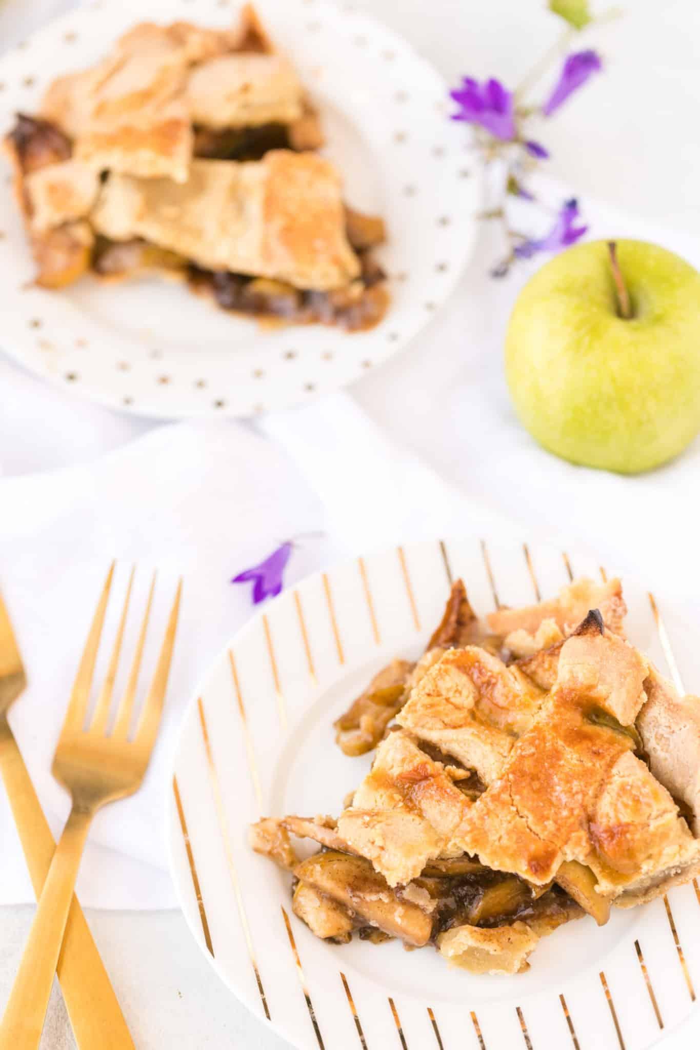 two slices of gluten-free apple pie