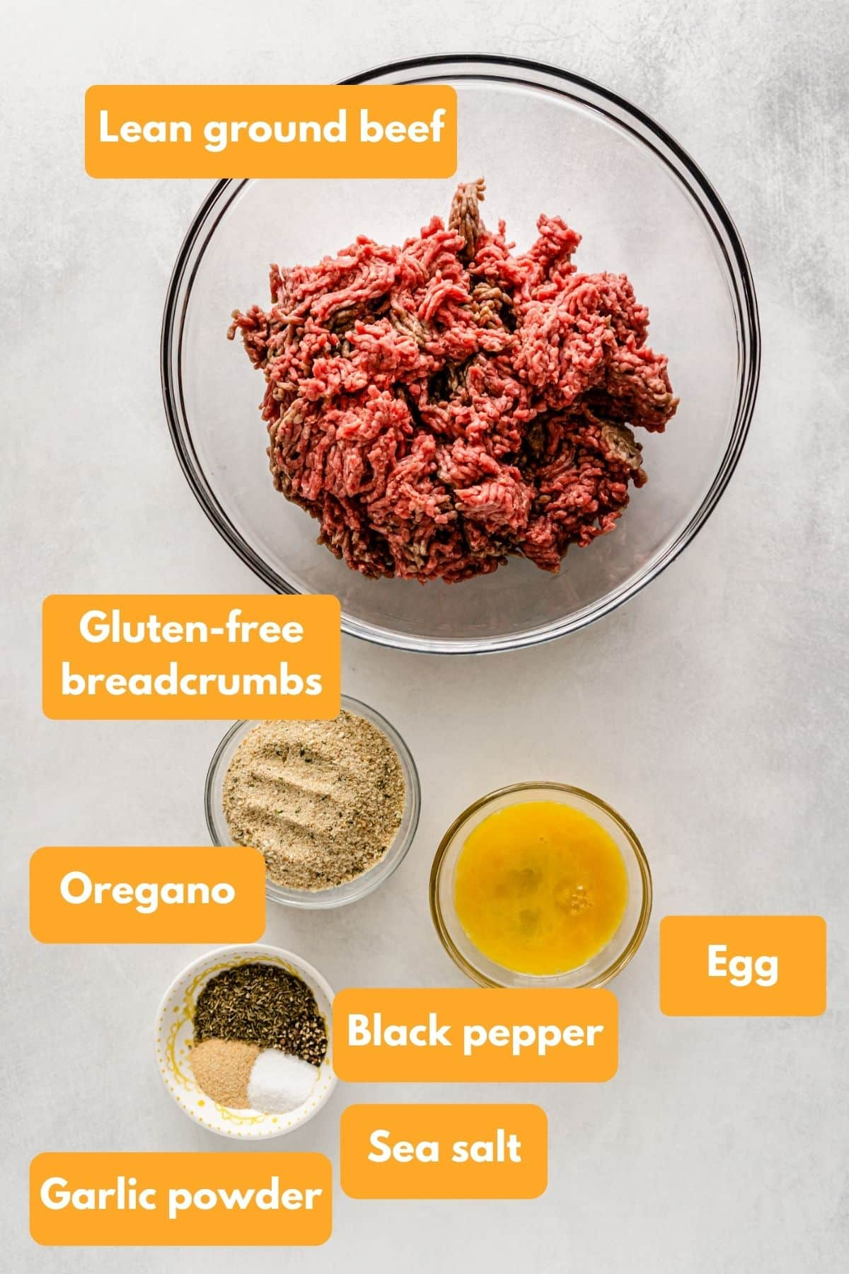 Ingredients for gluten-free meatballs