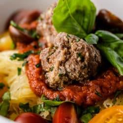 Meatballs with marinara and spaghetti squash