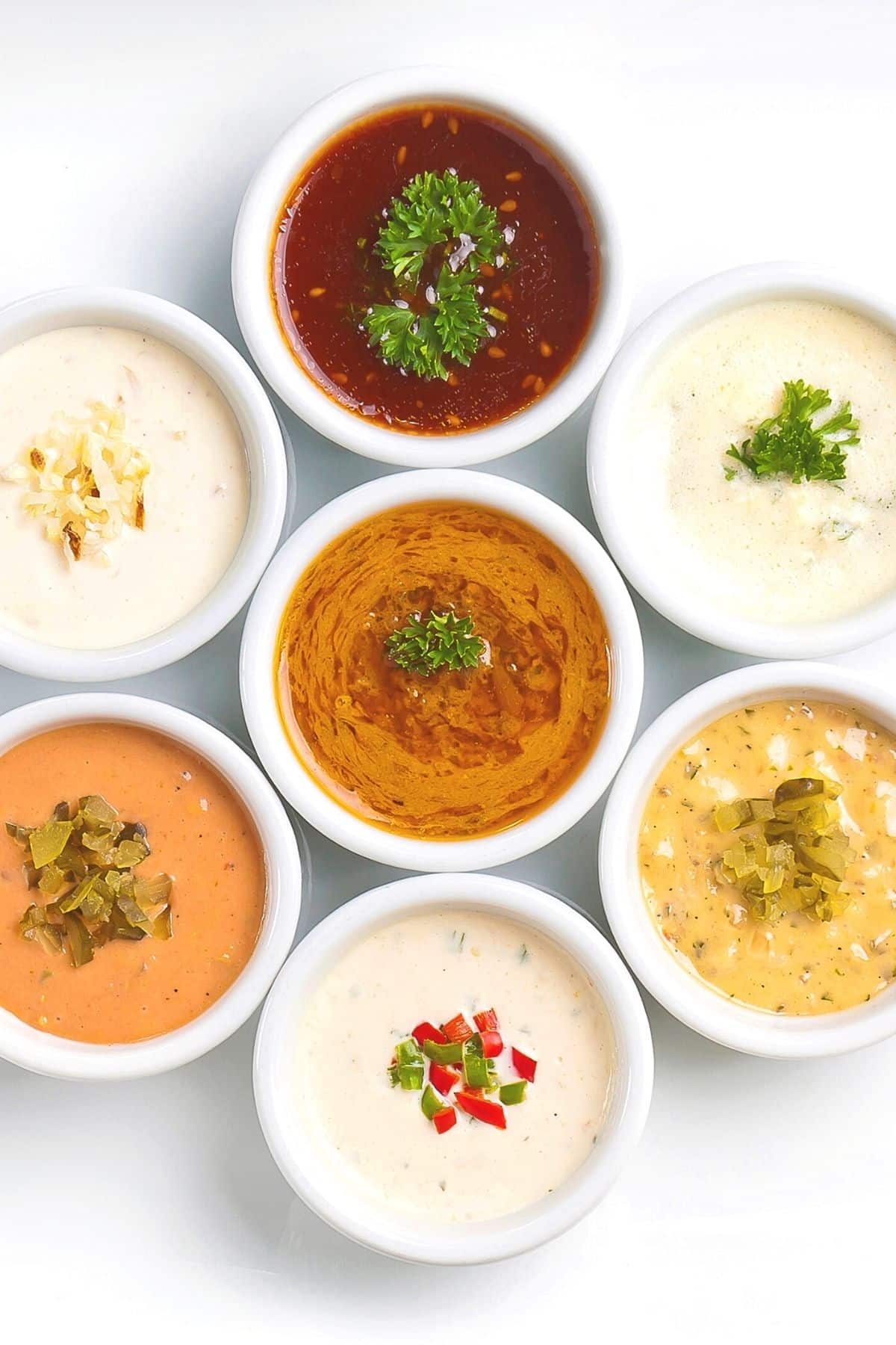 Bowls of different gluten free sauces