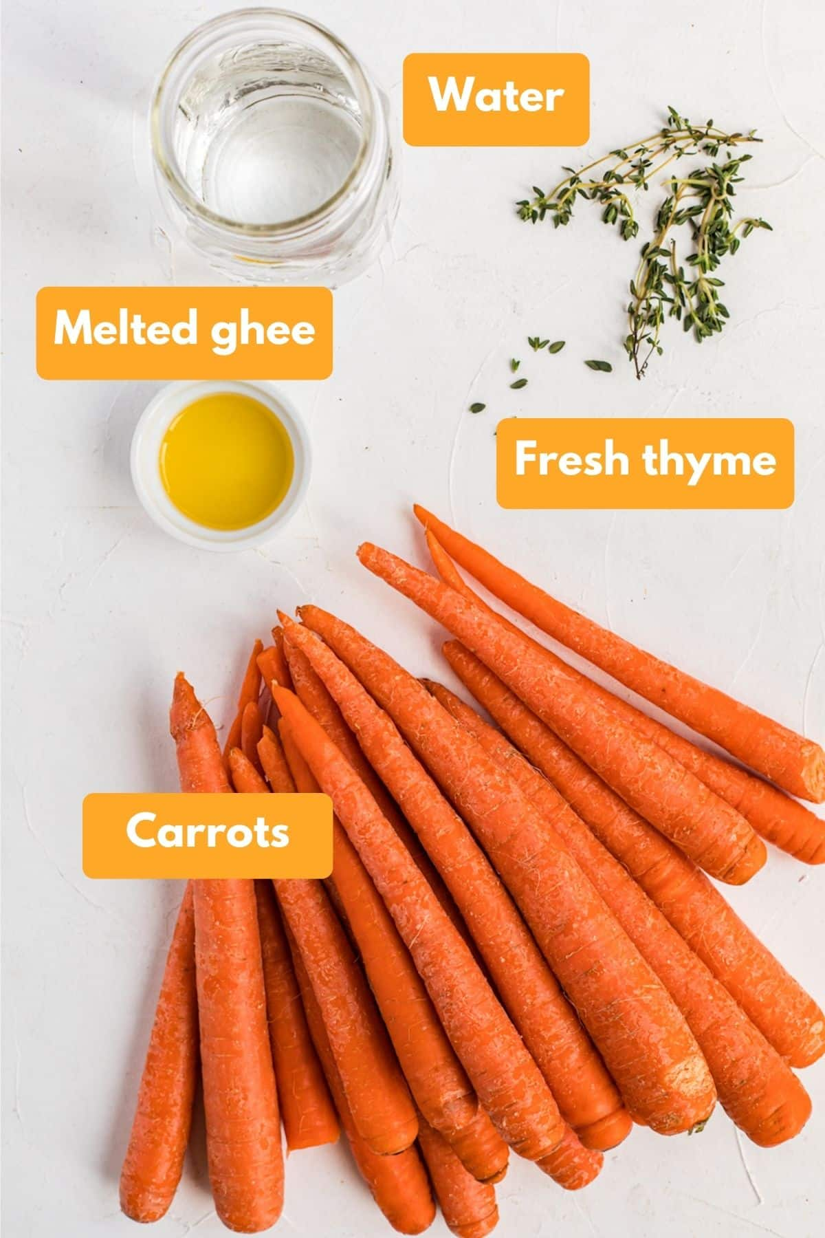 Ingredients for instant pot carrots