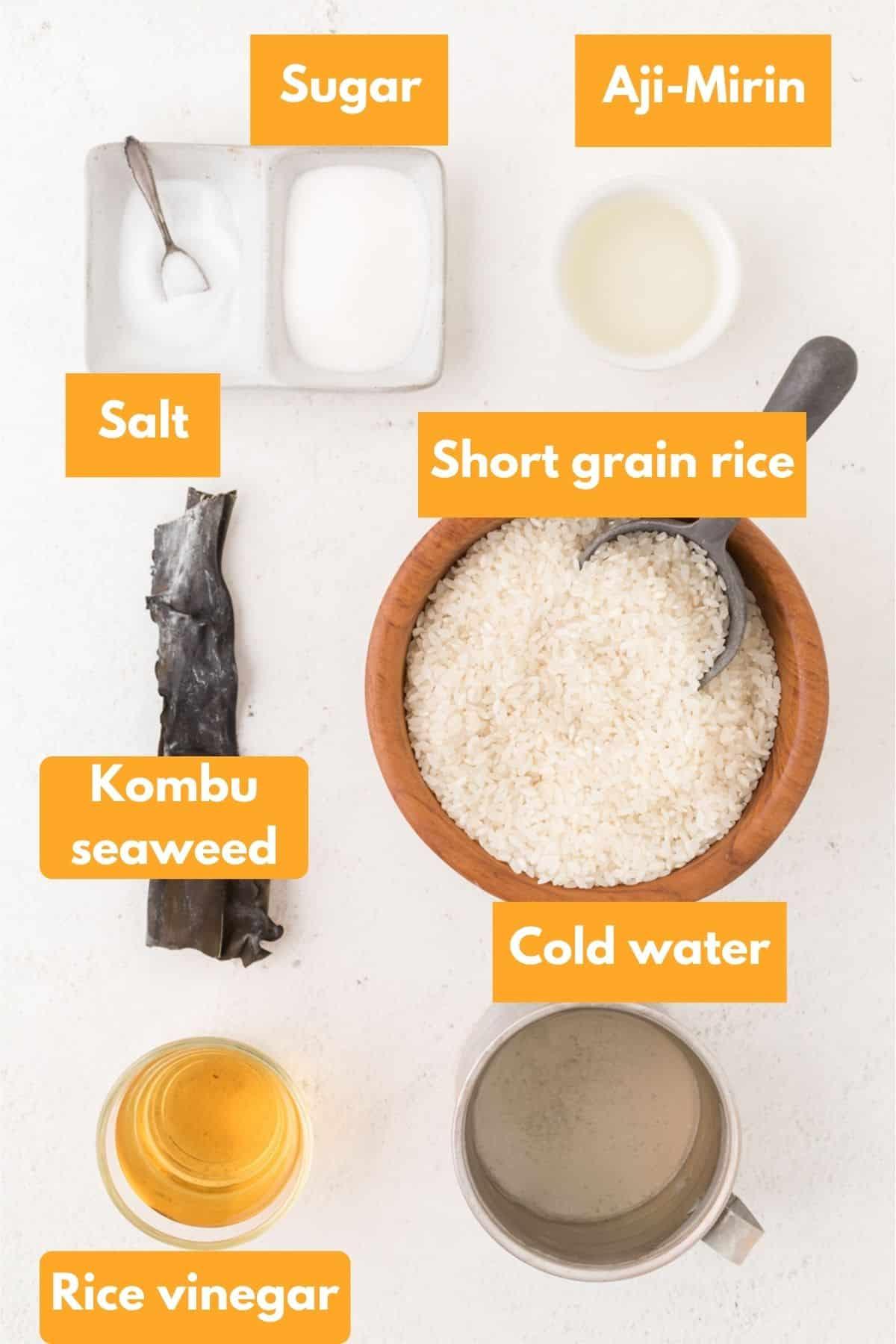 Ingredients for sushi rice