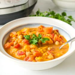 A bowl of vegan chickpea stew
