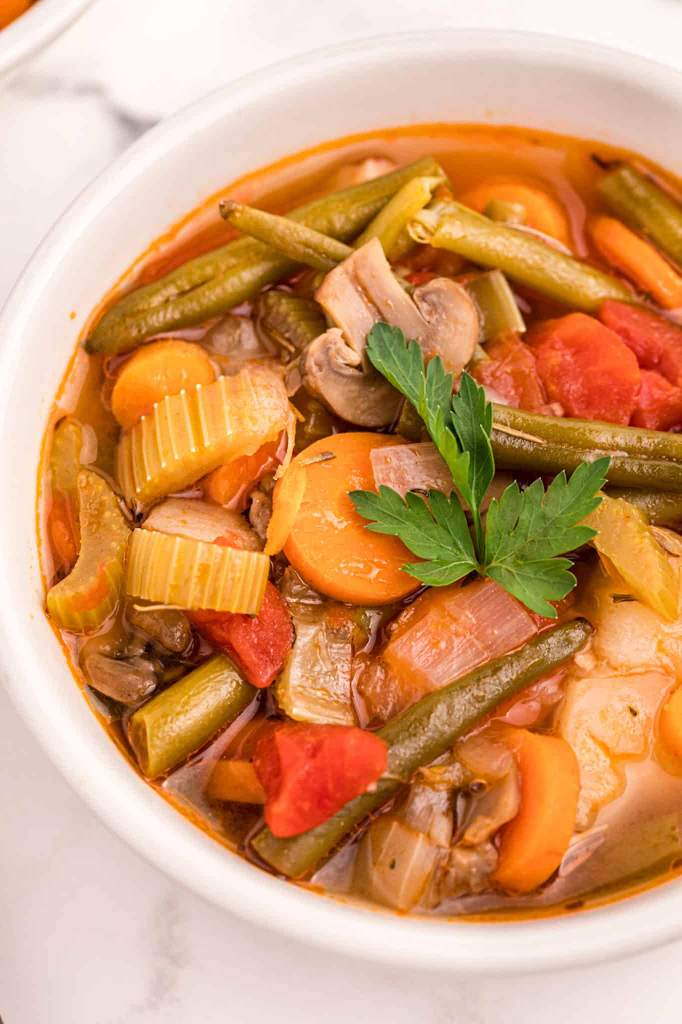Close up of vegetable stew in a white bowl