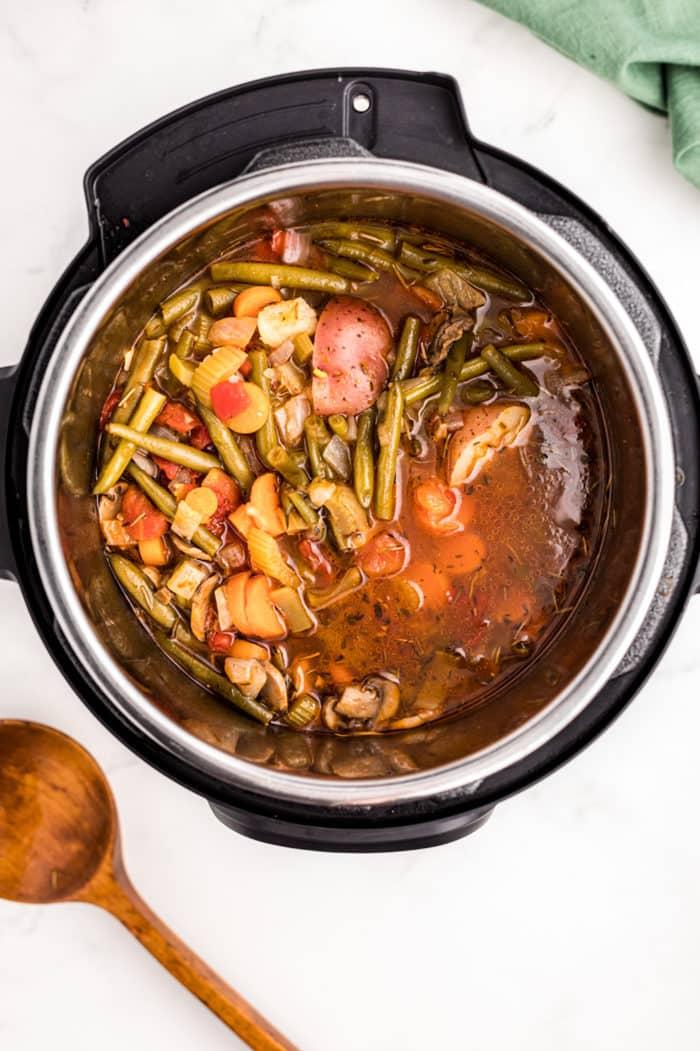 cooked veggie stew in pressure cooker