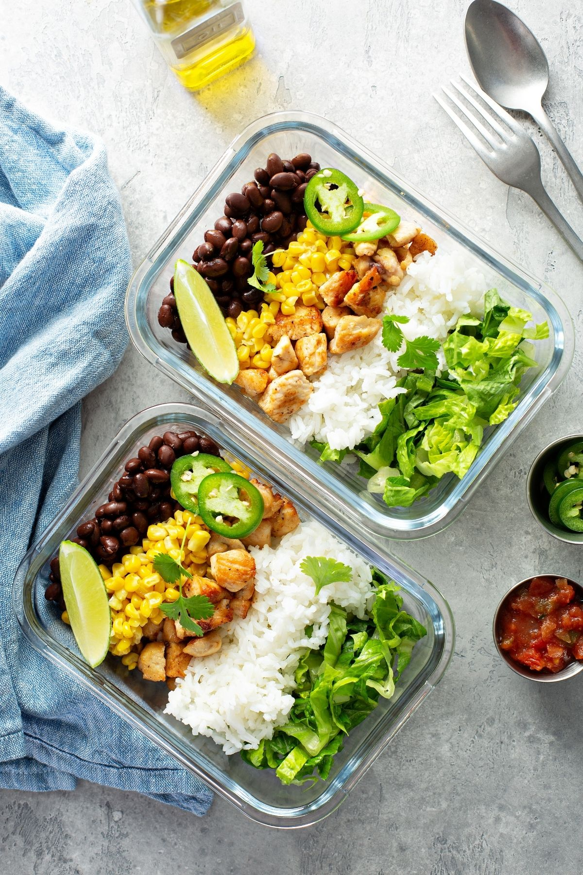 Meal prep for chicken, beans, and rice