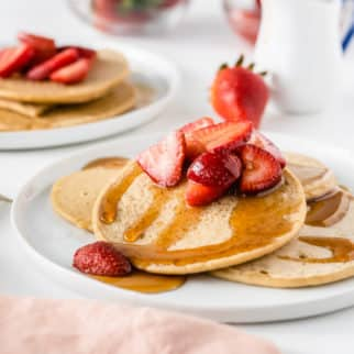 a plate of pancakes with strawberries