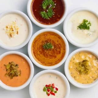sauces in dipping bowls