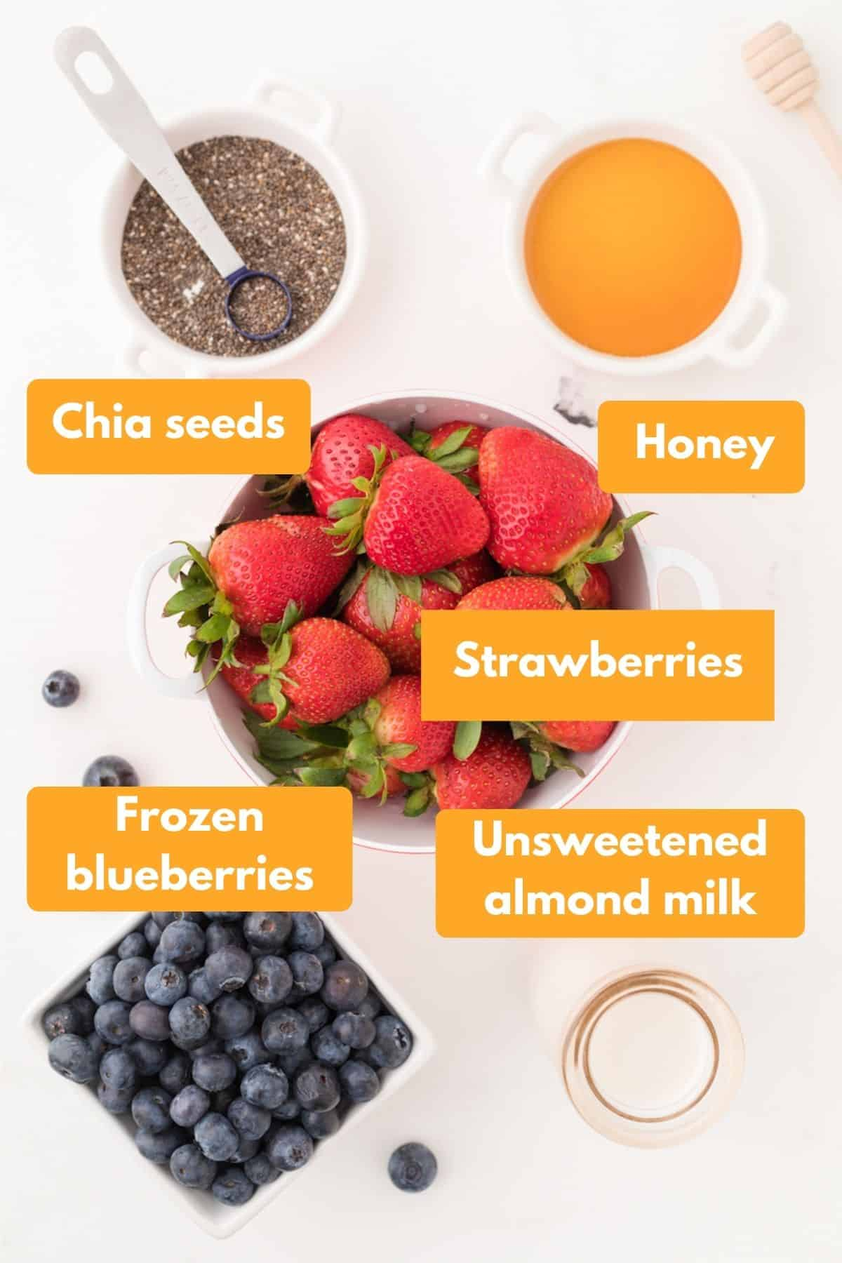 Ingredients for strawberry blueberry smoothie