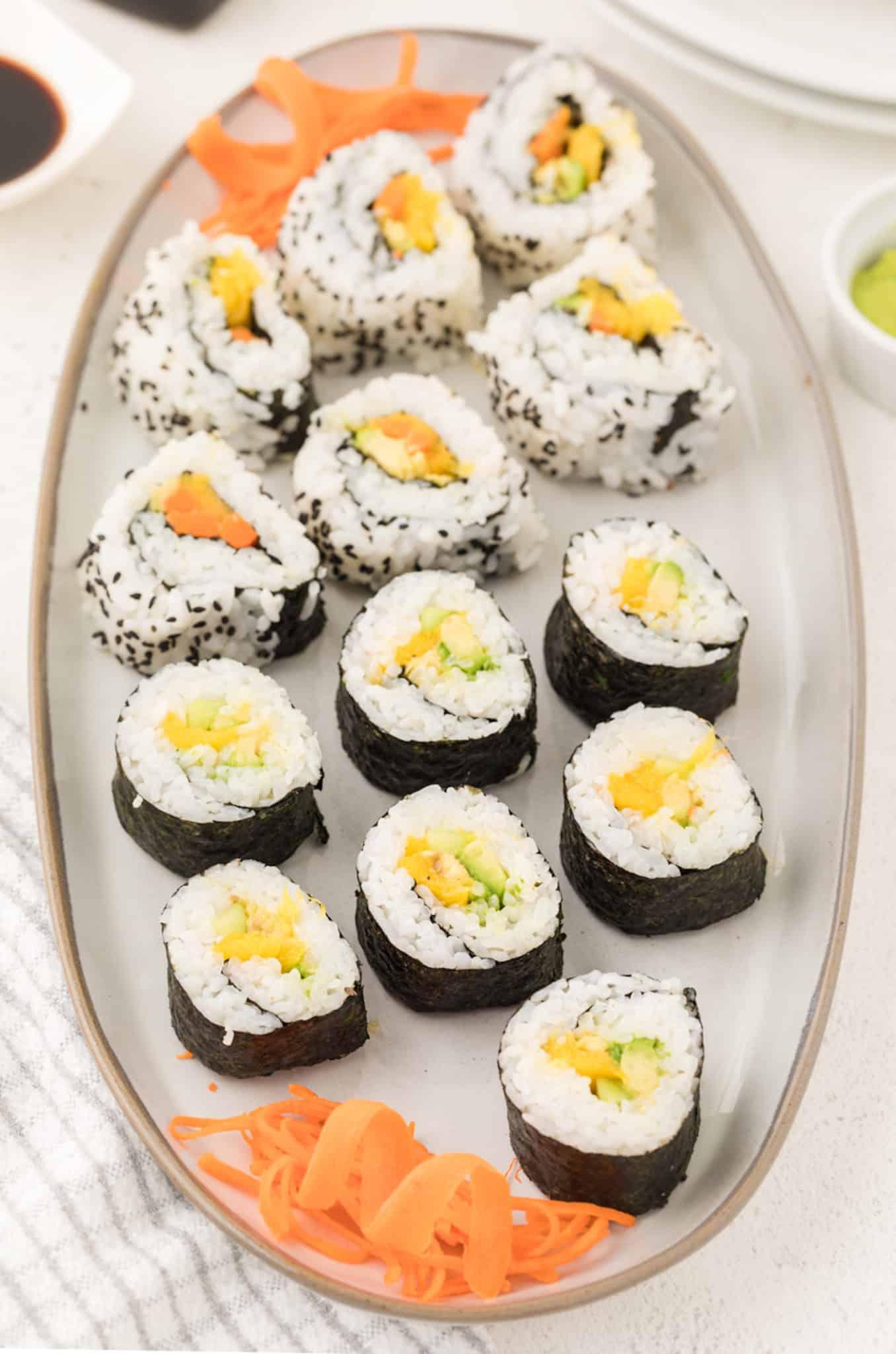 homemade sushi on a platter