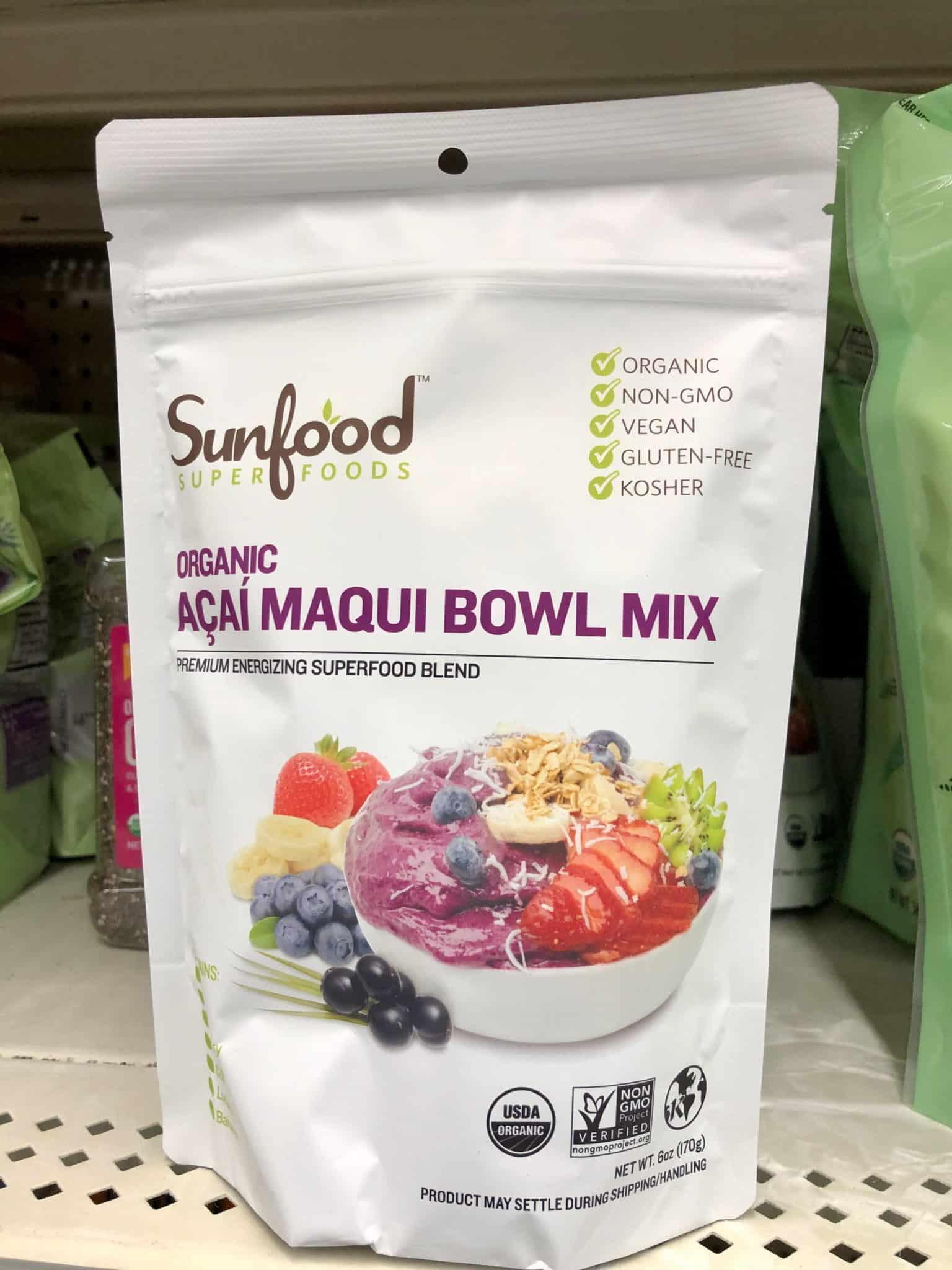 sunfood acai bowl mix sold at walmart