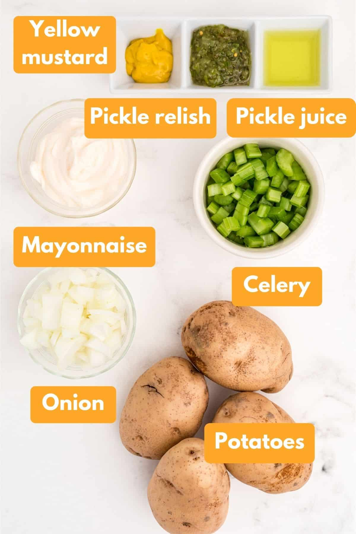 Ingredients for instant pot potato salad with no eggs