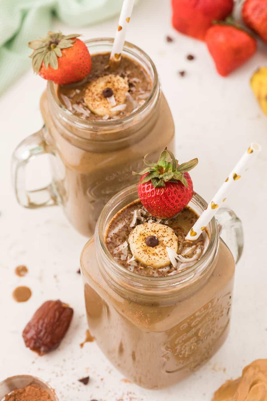 chocolate smoothies in jars