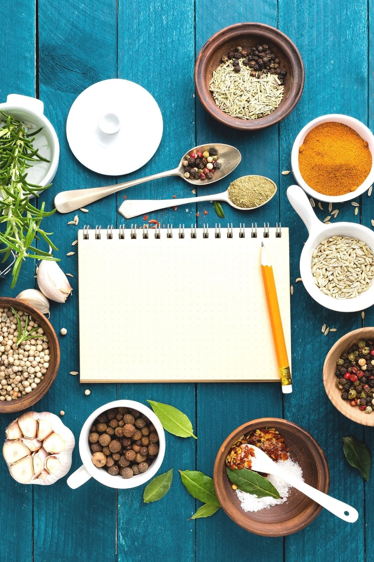 blank journal on a table surrounded by spices