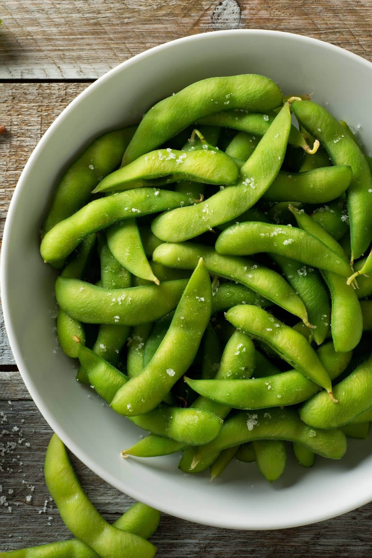 bowl of edamame on a table