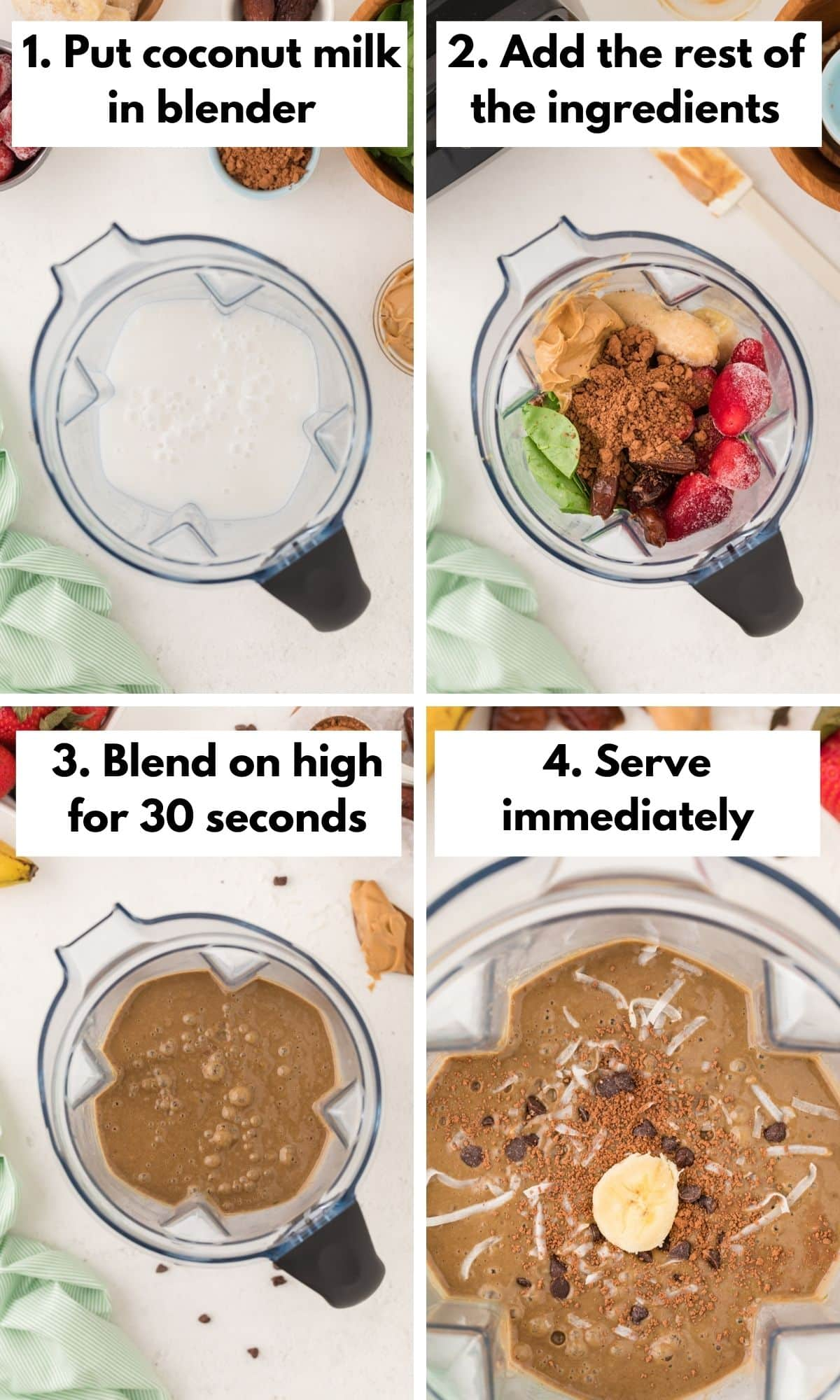 collage with photos on how to make this smoothie recipe