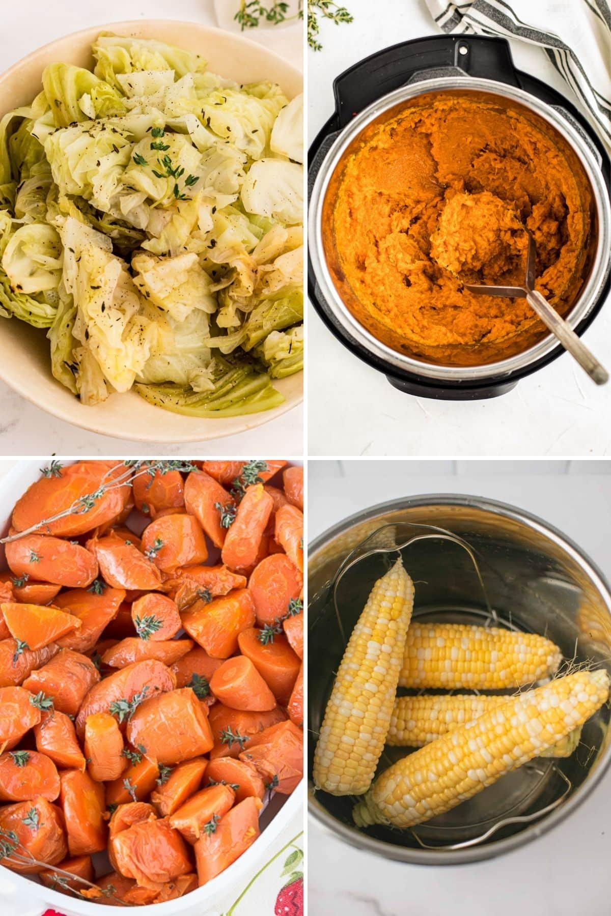 photo collage of instant pot side dishes