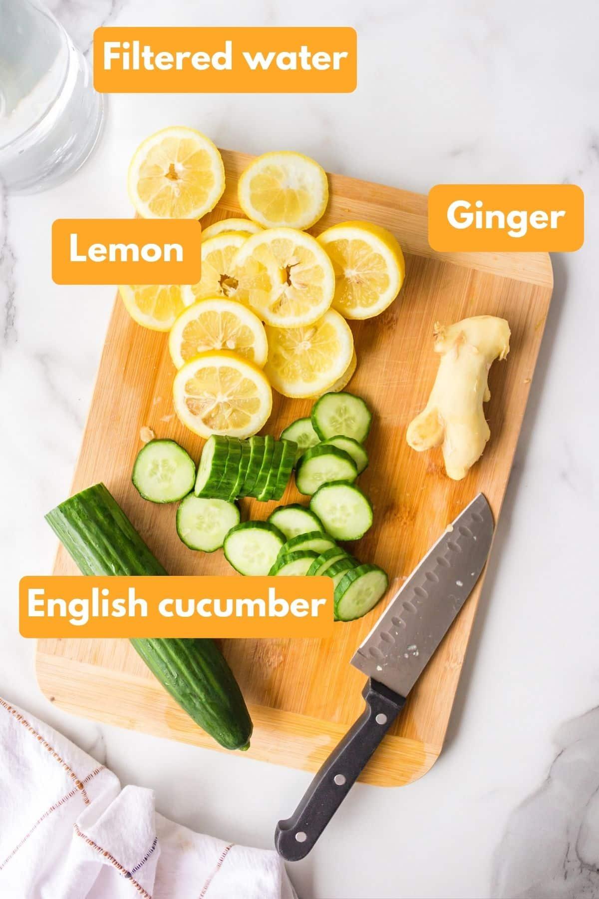 Ingredients for cucumber lemon ginger water