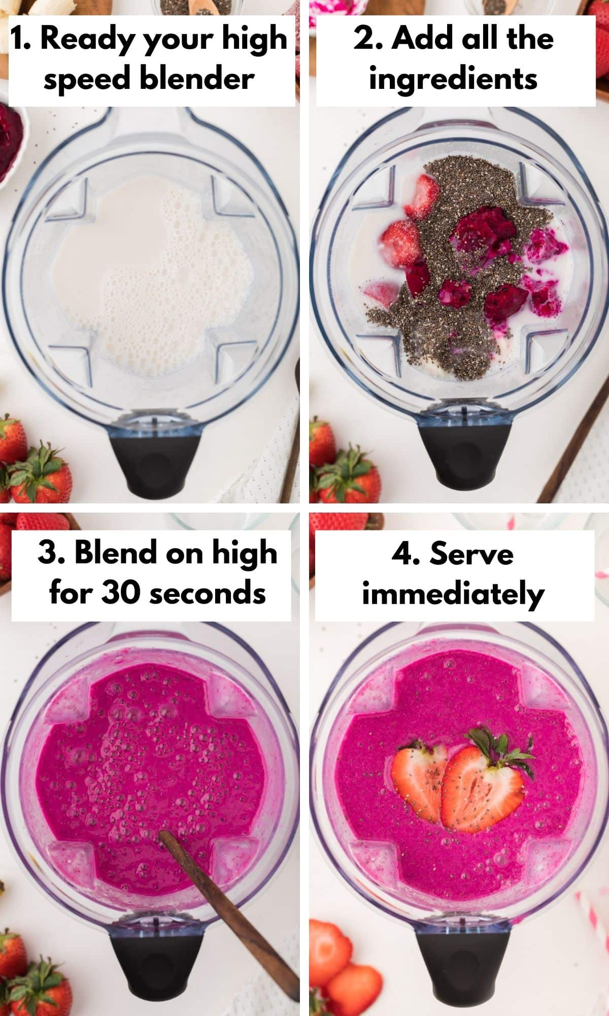 collage with photos on how to make a dragon fruit smoothie