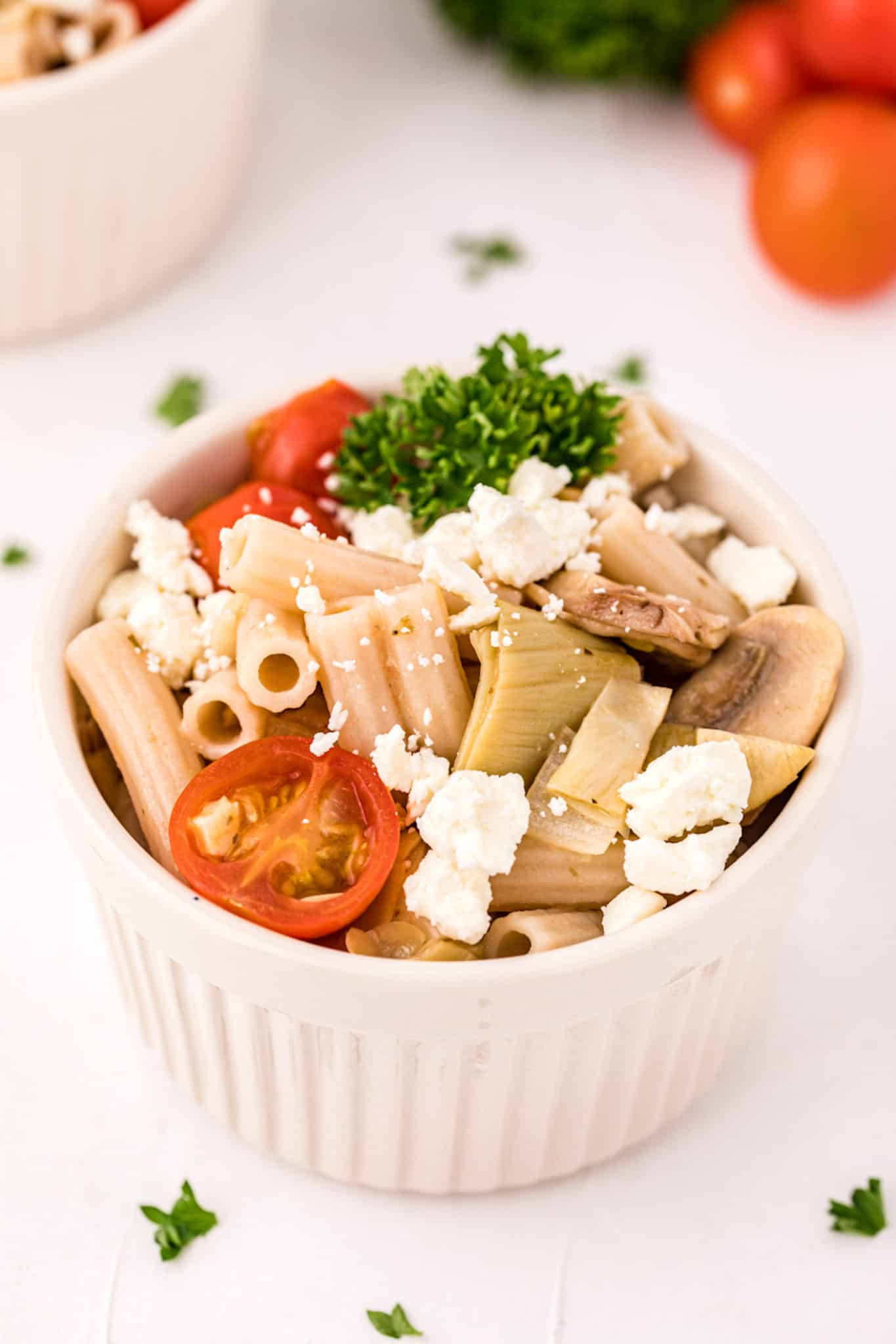 a bowl of gluten-free pasta with feta