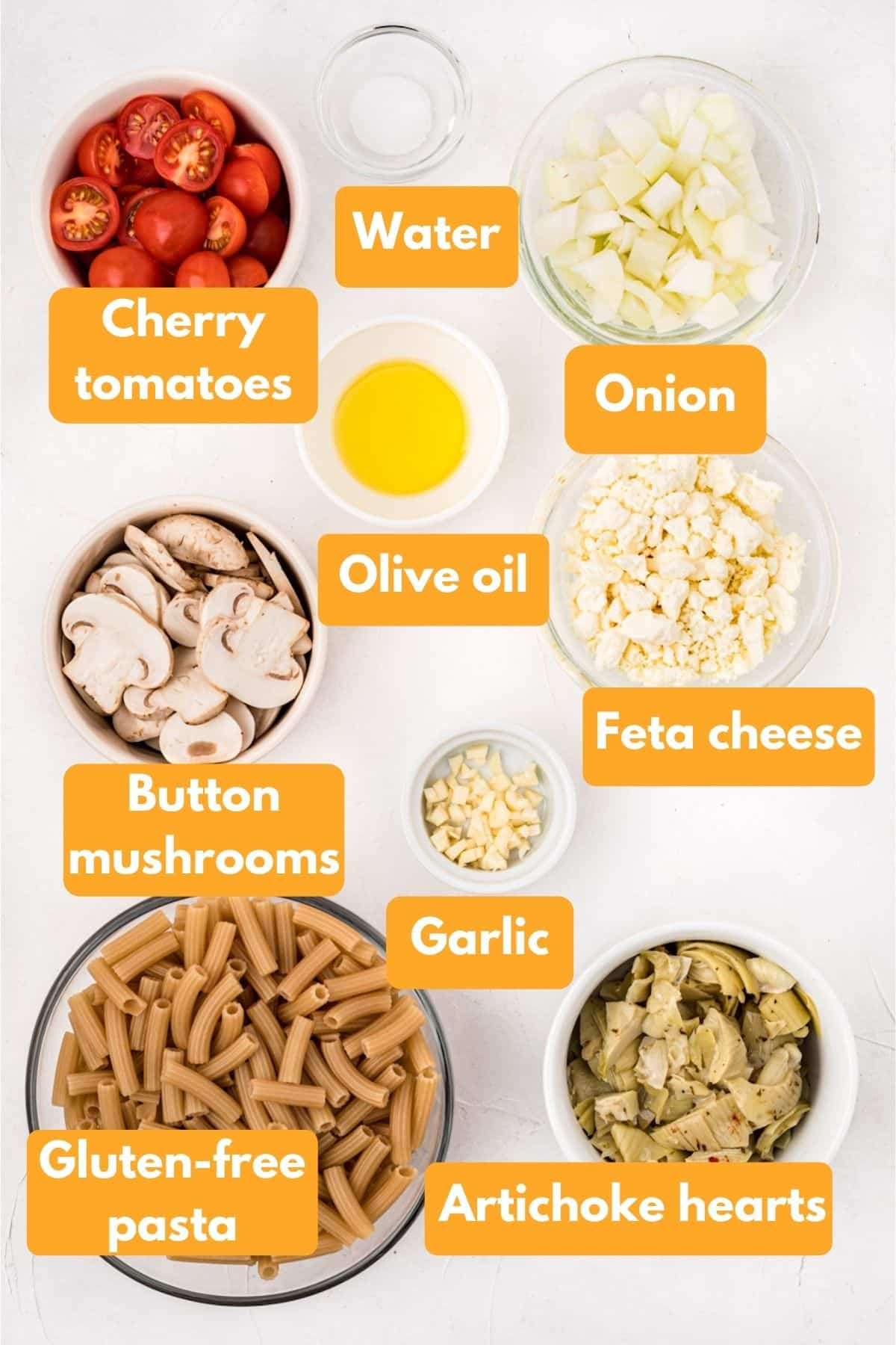 ingredients for gluten free pasta with veggies