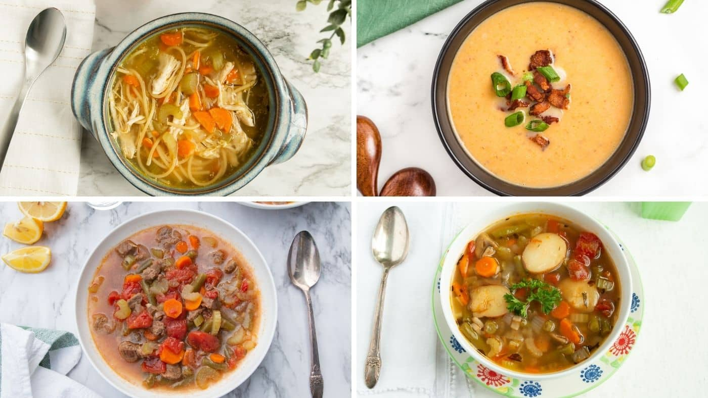 collage with four healthy instant pot soup recipes