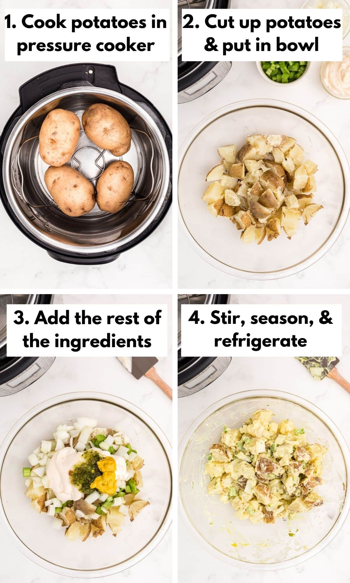 process photo collage for how to make potato salad without eggs