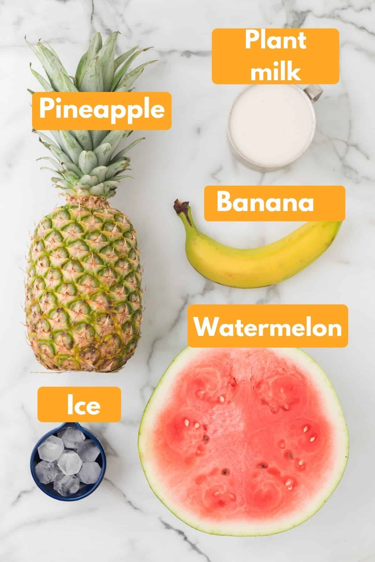 ingredients with labels for watermelon banana smoothie