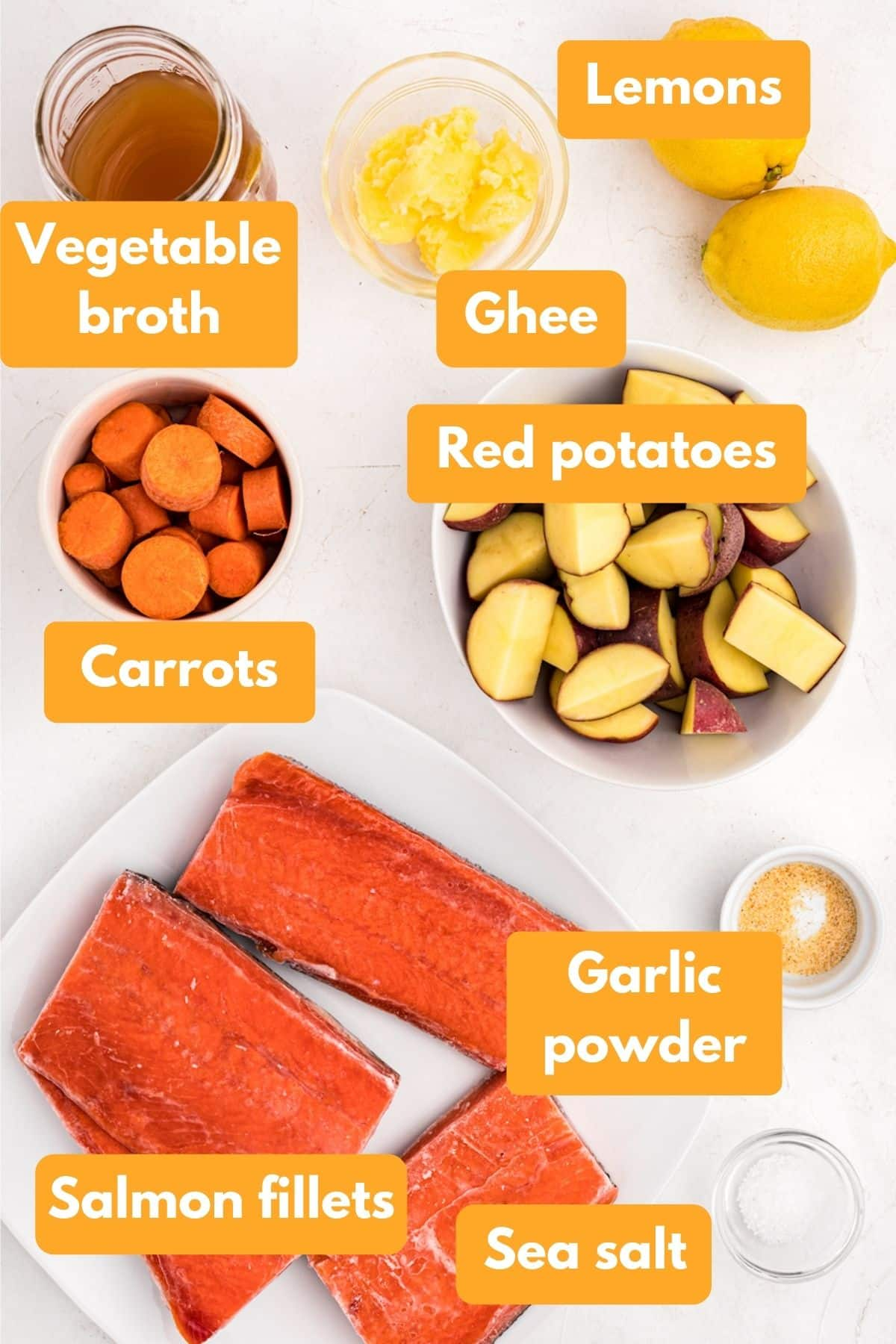 ingredients for salmon and potatoes