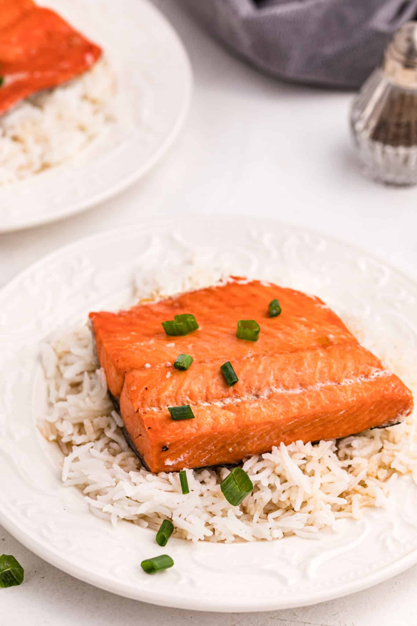 Salmon fillet on a plate with white rice