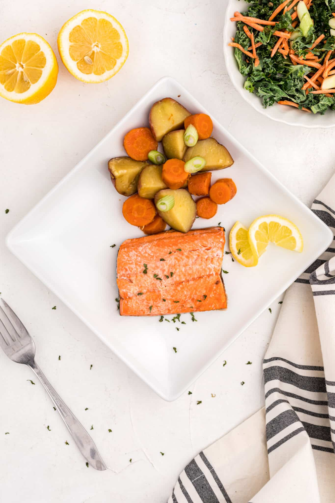 salmon with carrots and potatoes