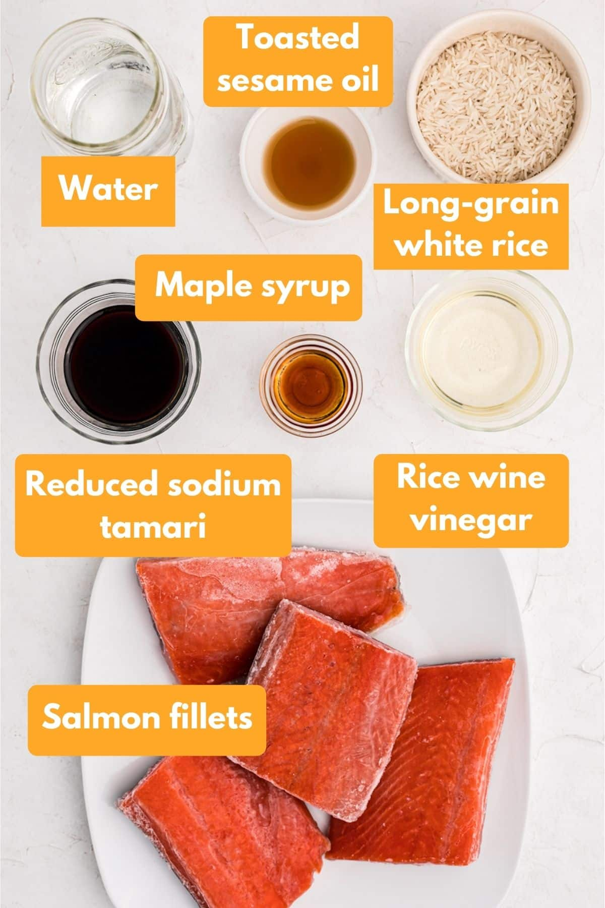Ingredients for instant pot salmon and rice dish