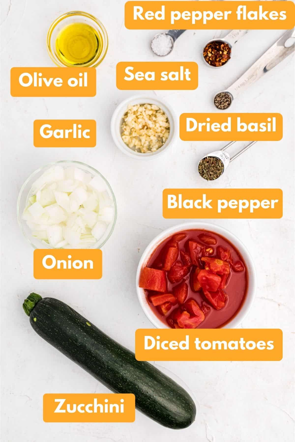 Ingredients for instant pot tomatoes and zucchini