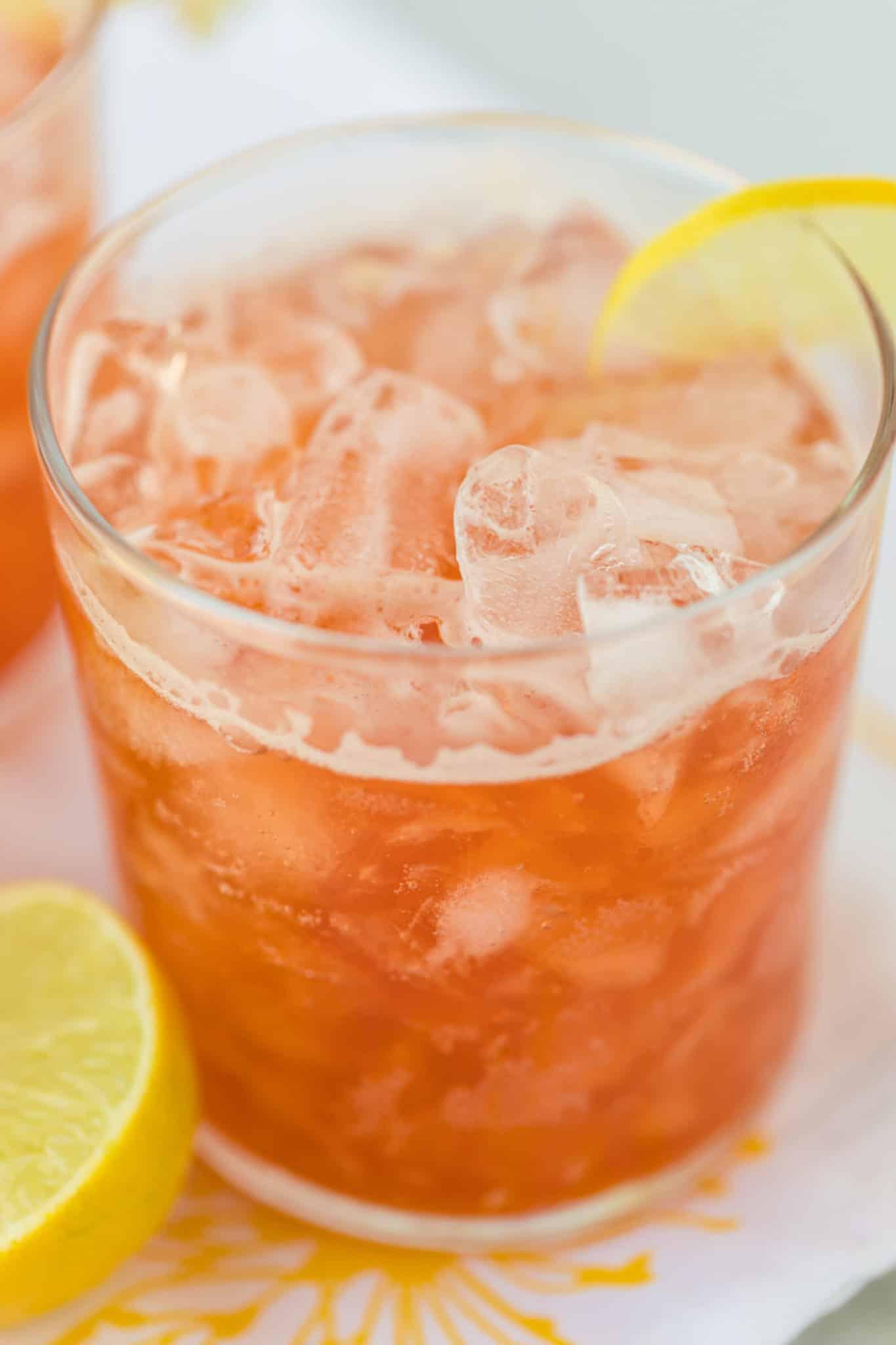 glass of kombucha lemonade with crushed ice